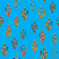 Seamless mosaic cactus pattern on blue Royalty Free Stock Photo