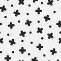 Seamless mosaic cross pattern in retro memphis style, fashion 80s - 90s. Abstract geometric background Royalty Free Stock Photo