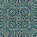 Seamless in mosaic ethnic style decorative colorful pattern vector background illustration Stock Photos