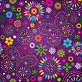 Seamless motley violet pattern vivid floral with colorful flowers butterflies and decorative circles vector Royalty Free Stock Images