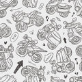 Seamless motorcycle pattern cartoon vector illustration Stock Images
