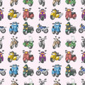 Seamless motorcycles pattern Royalty Free Stock Photography