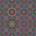 Seamless multicolor abstract pattern with stylized flower mandala in vector. Indian, arabic, damask motives. Ornamental print
