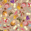 Seamless Mushrooms pattern Stock Photos