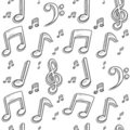 Seamless music notes background Royalty Free Stock Photos