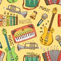 Seamless music pattern painted musical instrument vector illustration Stock Photo