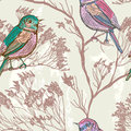 Seamless natural background with birds retro colors Stock Image