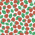 Seamless nature pattern with stylized raspberries.