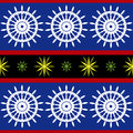 Seamless nautical pattern marine blue yellow red colors Royalty Free Stock Photo