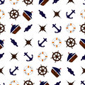 Seamless nautical pattern with naval elements