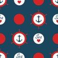 Seamless Nautical Pattern Vect...