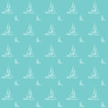 Seamless nautical pattern yatch boat preppy sea vector illustration