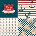 Seamless nautical patterns and invitation sea life theme Royalty Free Stock Photos
