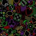 Seamless neon gambling background Royalty Free Stock Photo