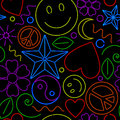 Seamless neon pattern colorful background of various symbols Stock Images