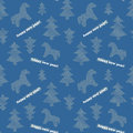 Seamless new year background with trees and horses blue Royalty Free Stock Image