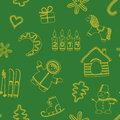 Seamless new year s green background yellow silhouettes Royalty Free Stock Images
