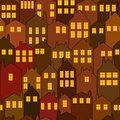 Seamless night city house pattern Stock Photo