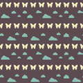 Seamless night clouds butterfly pattern Royalty Free Stock Photo