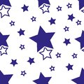 Seamless nursery pattern with deep blue stars