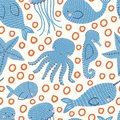Seamless ocean animals vector repeat pattern with seals, starfish, whales octopus, seahorse, narwhals and jellyfish