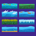 Seamless ocean, sea, water, waves vector backgrounds set for UI game in cartoon Royalty Free Stock Photo