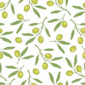 Seamless olive pattern. olive branch. A simple pattern. Vector. Royalty Free Stock Photo