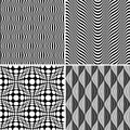 Seamless Op Art Background Pattern Set Royalty Free Stock Photo