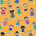 Seamless orange background with cartoon children of different nationalities and different clothes Royalty Free Stock Images