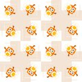 Seamless orange owl illustration pattern for kids Stock Image