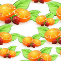 Seamless Orange and Strawberry Pattern Royalty Free Stock Images