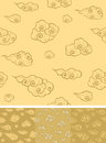 Seamless oriental cloud pattern element tile with swatch Royalty Free Stock Image