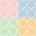 Seamless oriental flora pattern tile with swatch global color swatches applied Royalty Free Stock Images