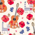 Seamless ornament for children. Tabby cats, wooden guitars, blue butterflies, red poppies and little hearts on light beige