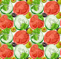 Seamless ornament delicious slices cucumber tomatoes olives herbs big version Royalty Free Stock Photography