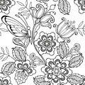 Seamless ornament flowers and butterflies for the anti stress coloring page.