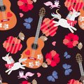 Seamless ornament for kids. Unicorns, little foxes, blue butterflies, wooden guitars, hearts and red poppy flowers on black Royalty Free Stock Photo