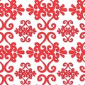 Seamless ornament pattern with red swirl elements on white Stock Photos