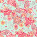 Seamless ornament with pink butterflies, hearts and flowers on a blue background. Decorative ornament backdrop for fabric