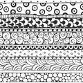 Seamless ornament from the semi circles and circles in ethnic style black white Royalty Free Stock Photos