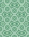Seamless ornament tile pattern with green tiles and swirl elements Stock Photos