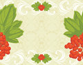 Seamless ornamental background with red berries bu bunches illustration Royalty Free Stock Image