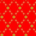 Seamless ornamental pattern with gold flowers and snowflakes on red background. Royalty Free Stock Photo