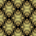 Seamless ornate floral Wallpaper: gold on black.