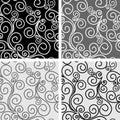 Seamless ornate Patterns with Swirls - set