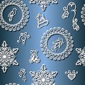 Seamless ornate winter pattern vector christmas decorations Stock Photography