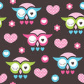 Seamless owl love and flower pattern vector illustration Royalty Free Stock Photo