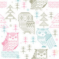 Seamless Owl Pattern Royalty Free Stock Photo