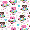 Seamless owl pattern vector illustration Royalty Free Stock Photo