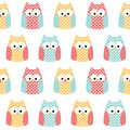 Seamless owls background heart patterned tile Stock Images